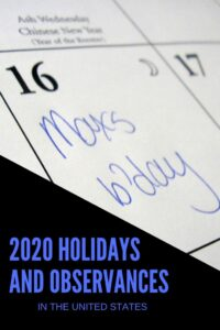 2020 Holidays and Observances in the United States